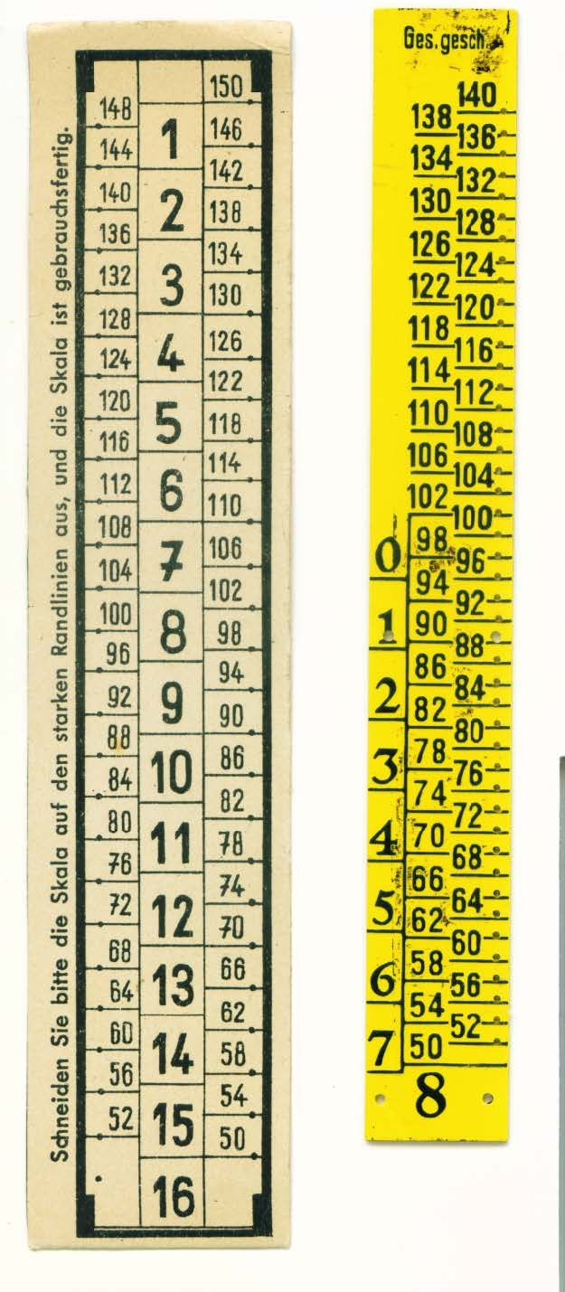Lutterloh 1938 Sizing Scale Centimeters and sizes are .3 cm apart (yellow) Sizing Scale for ABC Schnitt (off white)