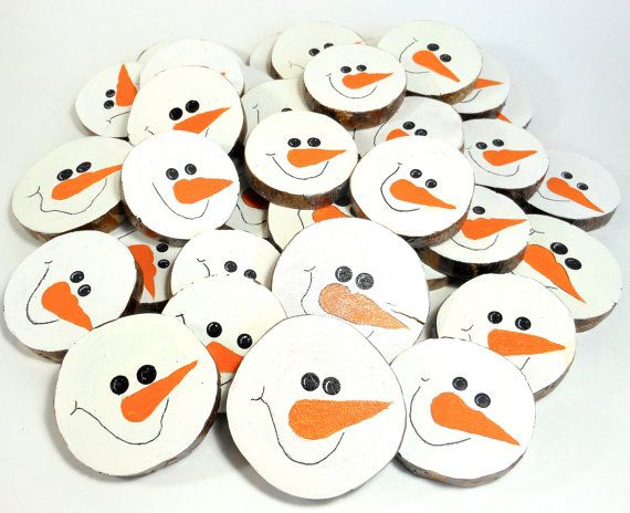 Hand painted snowman faces wood slices christmas winter for Snowman faces for crafts