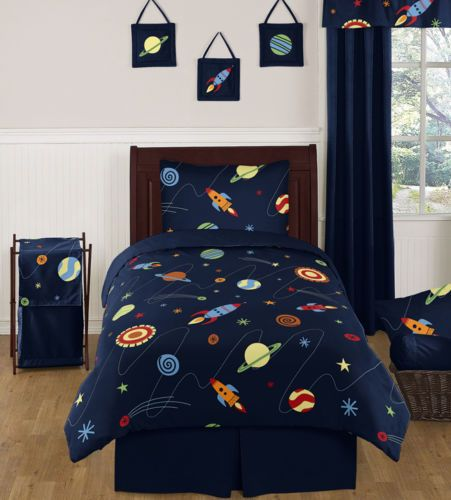 Discount blue galaxy rocket ship twin size boy kids saturn for Childrens rocket bed