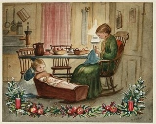 Picture by one of my favorites, Tasha Tudor. This is how I've always dreamed having a family of my own would be... only with a husband reading a good book out loud in one of the other chairs. ;)