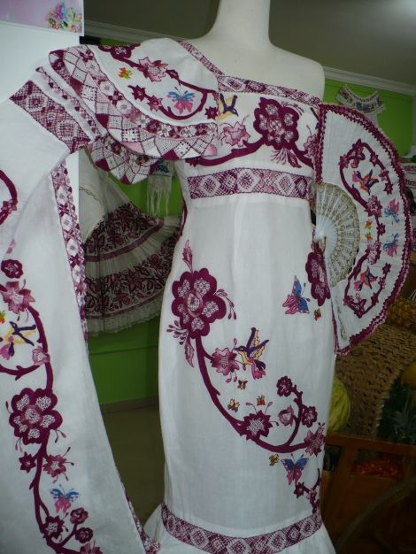 dresses inspire of the Panamanian pollera which guests wear for wedding or special occasions
