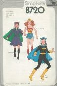 An original ca. 1978 Simplicity Pattern 8720.  Girls' Batgirl, Catwoman and Wonder Woman costumes - V.1 costume has dress with long elasticized sleeves, matching hat, and contrasting belt and cape. V.2 costume features cape and matching hat worn with contrasting armbands, belt, and emblem...emblem is tacked to your own leotard. V.3 costume with star trimmed shorts stitched to contrasting emblem trimmed bodice has back zipper and is worn with star trimmed headband.  Boys' pattern is 8714.