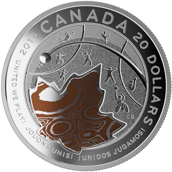 Toronto 2015 Pan Am & Parapan Am Games Coin: 2015 $20 Fine Silver Coin - Toronto 2015 TM PAN AM/PARAPAN AM Games: United We Play! TM.