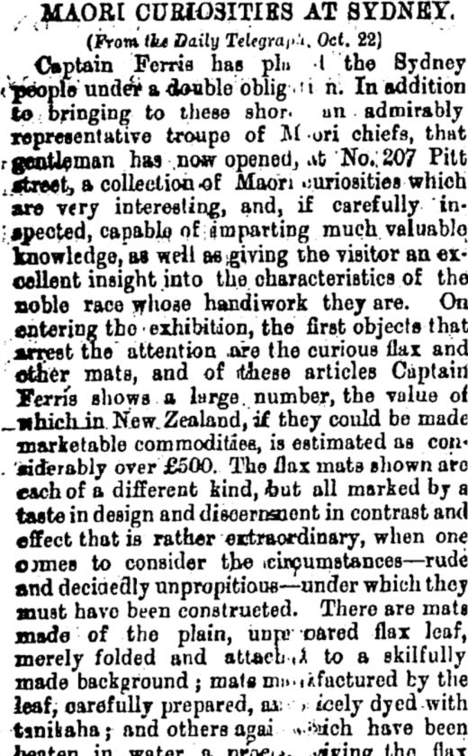 MAORI CURIOSITIES AT SYDNEY. (Star, 13 November 1879) - National Library of New Zealand