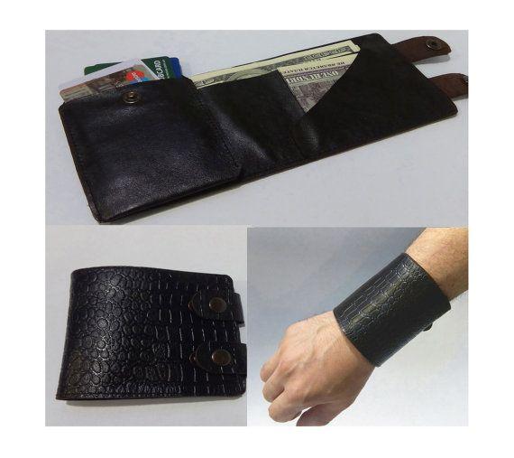 Brazalete monedero pulsera de cuero billetera para hombre