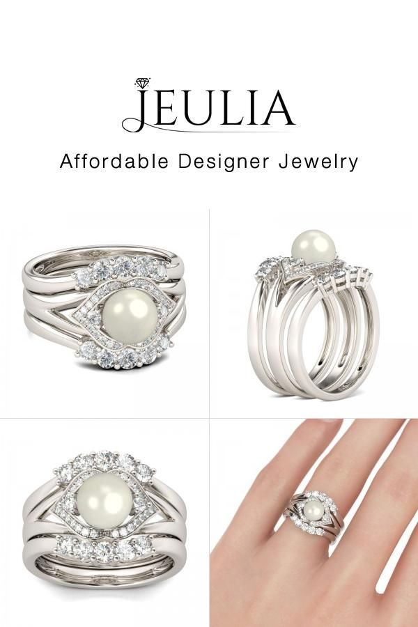 Jeulia Jeulia 3pc Cultured Pearl Wedding Ring Sets For Women Under