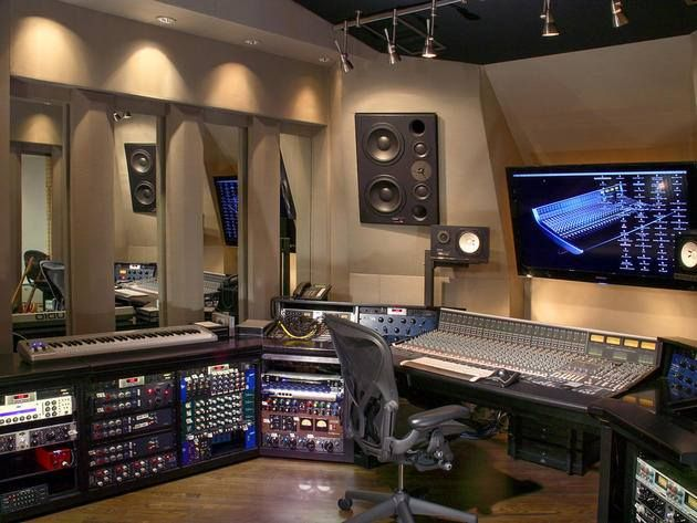 Joe Don Rooney home studio.   **Consider for lighting ideas and look into what full large monitors are in use on that wall.