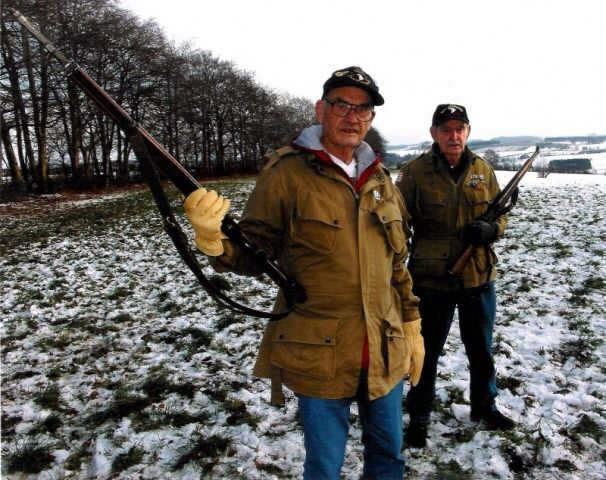 """Earl """"One Lung"""" McClung and Shifty Powers, Bastogne Belgium, 2003."""
