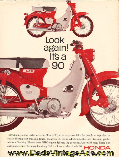 Vintage 1966 Honda Cub 90 Motorcycle Ad (bought one of these for my wife last Christmas)