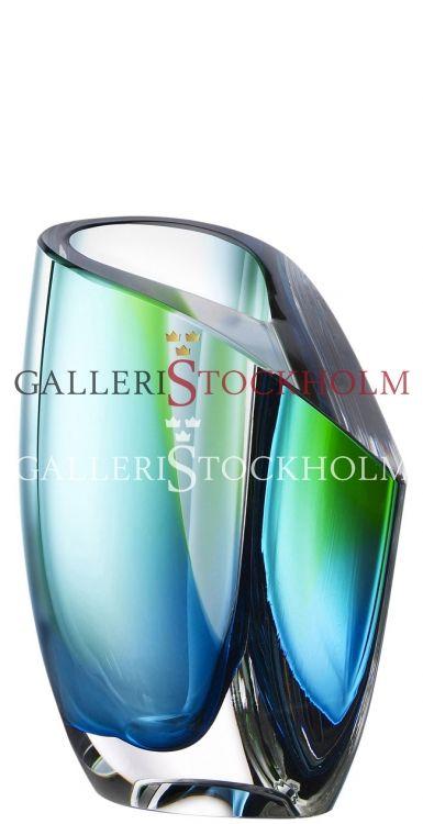 Göran Wärff - Glaskonst - Mirage - Vas liten blå/grön Beställ här! Klicka på bilden.