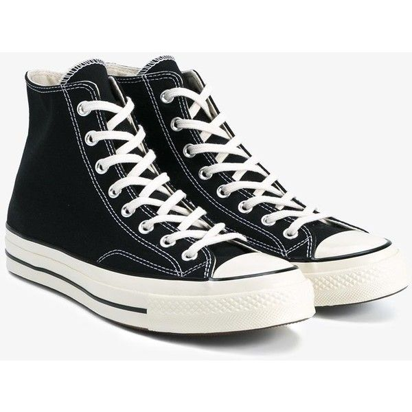 Converse Black All Star Hi 70'S Trainers ($74) ❤ liked on Polyvore featuring shoes, sneakers, lacing sneakers, star sneakers, lace up shoes, black sneakers and converse footwear