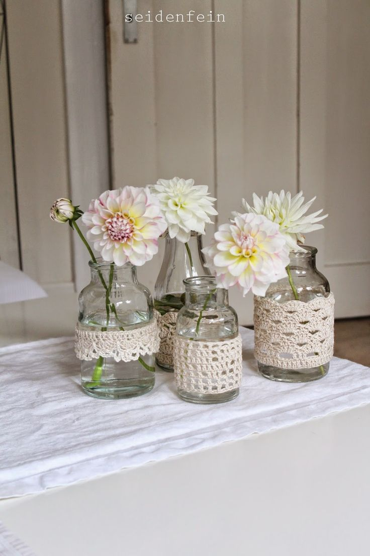 seidenfeins Dekoblog: zart : Dahlien in behäkeltem Glas * DIY * crochet ...