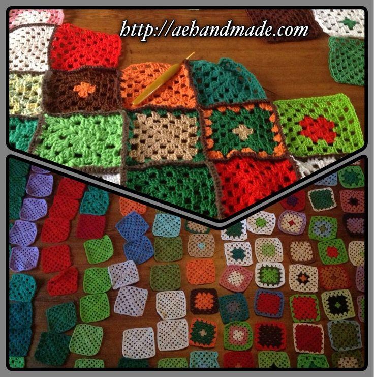 Virka en filt av restgarner i alla färger!