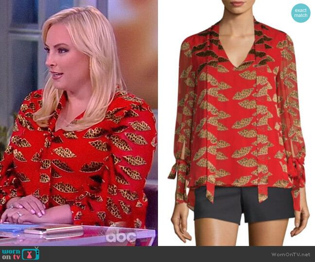 Meghan's Red Printed Tie Neck Blouse On The View