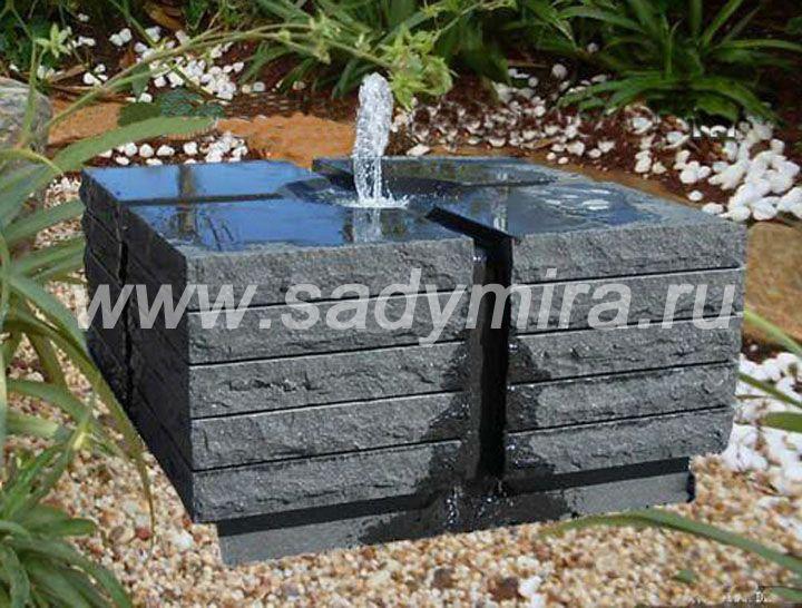 Купить фонтан современный из камня (гранита) в Мск, Спб, регионах РФ