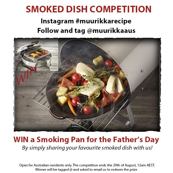 ENTER our Instagram competition and have a chance to WIN a Muurikka Smoking Pan ($159). Enter here: https://www.instagram.com/p/BJPTRc-Dy06/.