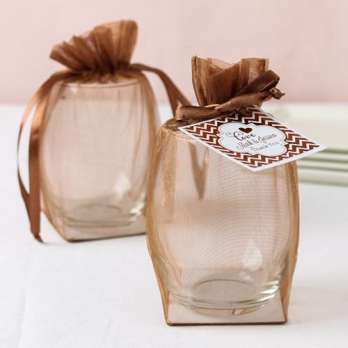 Stemless Wine Glasses in Flat Bottom Organza Bags