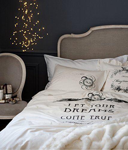 french vintage cotton duvet quilt cover 2pc set twin single old fashion ivory grey script duvet