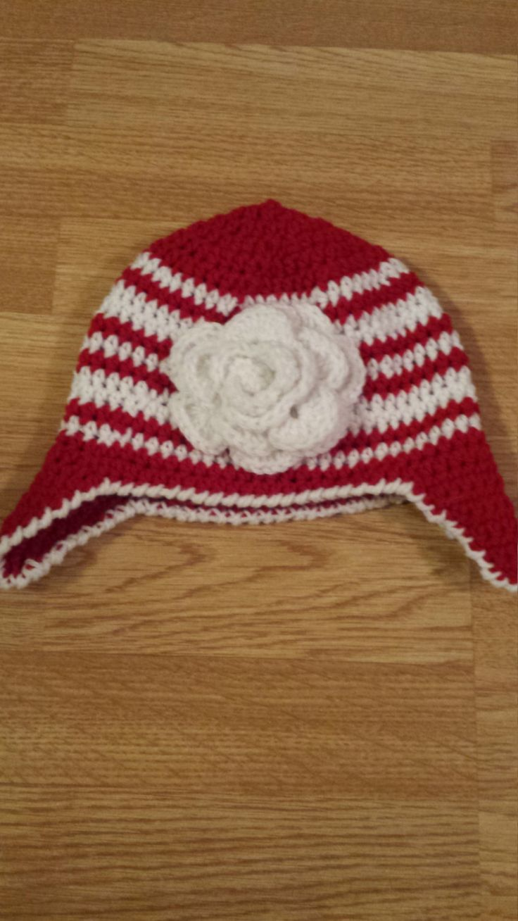 Red & White Small Child's Hat, Striped Hat with Flower, Toddler Hat by…