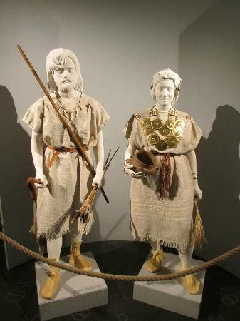 Recreations of Bronze Age costume, jewelry, and other personal objects displayed in the Zapadoceske Museum, West Bohemia (Czech Republic).