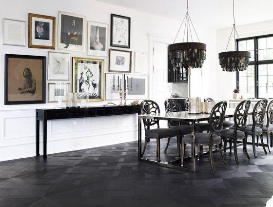 Day Birger et Mikkelsen dining room, black, white, gallery wall, horn? shell? pendants, ebony floors, Lonny Dec 2012