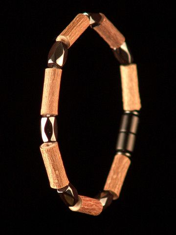 Men Hazelwood Bracelet with Double face Magnetic Hematite beads