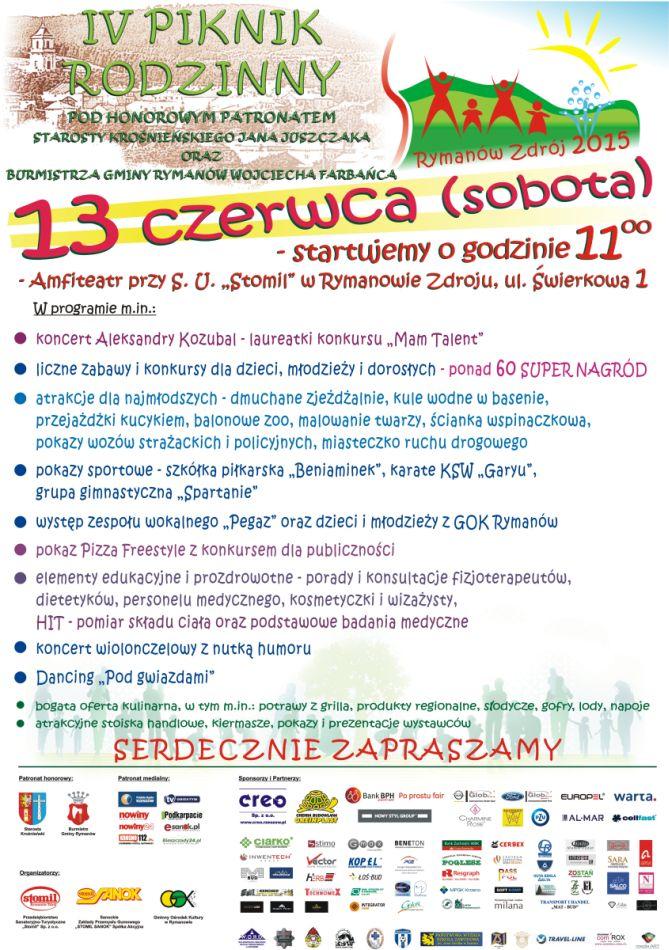 """Przedsiębiorstwo Sanatoryjno-Turystyczne """"Stomil"""" serdecznie zaprasza do udziału w IV Pikniku Rodzinnym, który odbędzie się 13 czerwca 2015 r. w godz. 11:00-24:00 w amfiteatrze przy Sanatorium Uzdrowiskowym """"Stomil"""" w Rymanowie Zdroju, szczegóły na plakacie i pod tym adresem: http://www.sanatorium-stomil.com.pl/aktualnosc/i-piknik-rodzinny-w-rymanowie-zdroju-zapraszamy.aspx"""