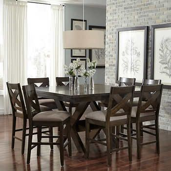 Felicia Counter Height Dining Set Table And 8 ChairsCherry Veneer Top With Planked Design DetailingRubberwood