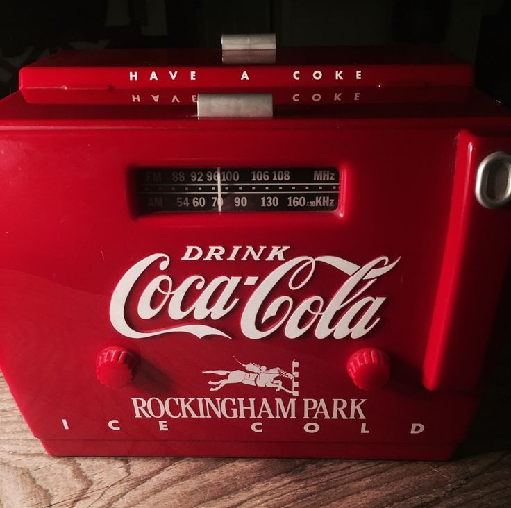 old-tyme COCA-COLA cooler radio otr-1949 / commemorative Rockingham park by XVIPaws on Etsy https://www.etsy.com/listing/252554838/old-tyme-coca-cola-cooler-radio-otr-1949