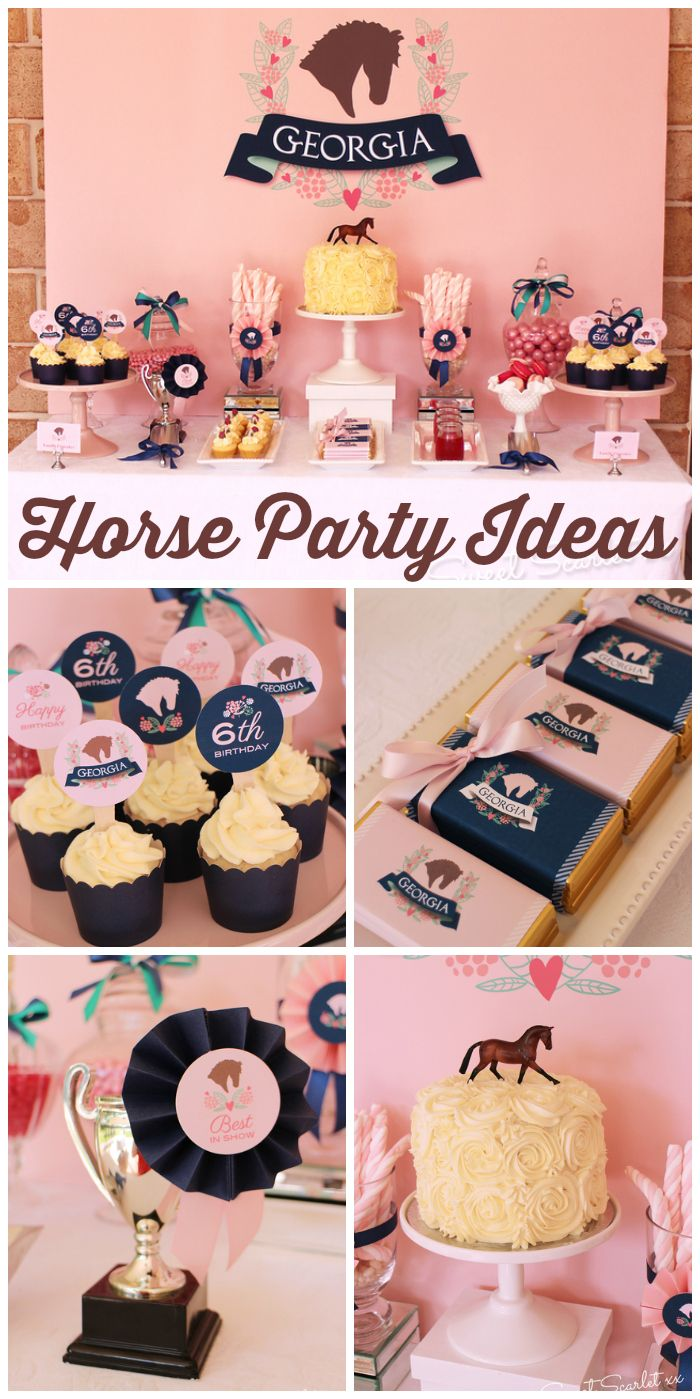 A preppy pink and navy pony birthday party with pony rides, sack races and a horseshoe toss!  See more party ideas at CatchMyParty.com!