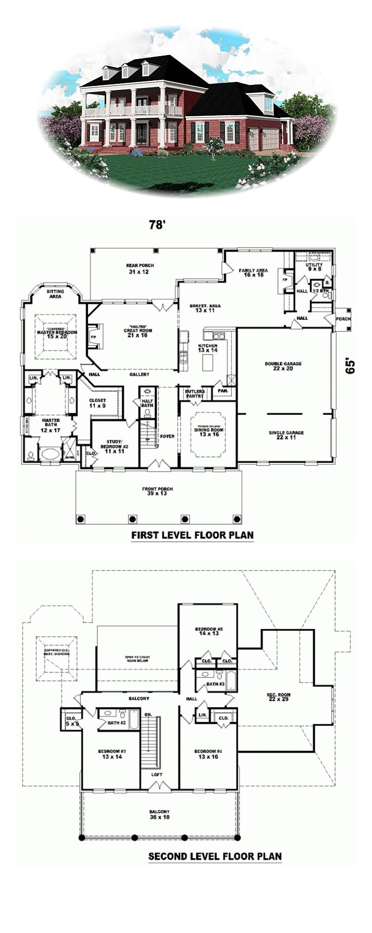 Plantation House Plan 47157 | 4347 sq. ft., 3 bedrooms, 3 full bathrooms and 2 half baths. #plantationhome