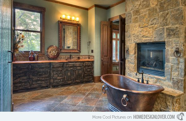 Rustic log home bath ideas | 15 Bathroom Designs of Rustic Elegance | Home Design Lover