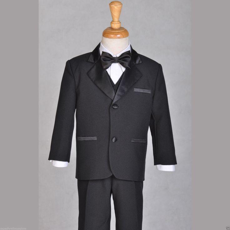 Garçon adolescent Tuxedo costume 5pcs. Définissez le gilet chemise cravate noire formelle taille 2 3 4 5 6 7 8 9 10 12 14 16 18 20 #shiny par ekidsbridalusa sur Etsy https://www.etsy.com/fr/listing/227741672/garcon-adolescent-tuxedo-costume-5pcs