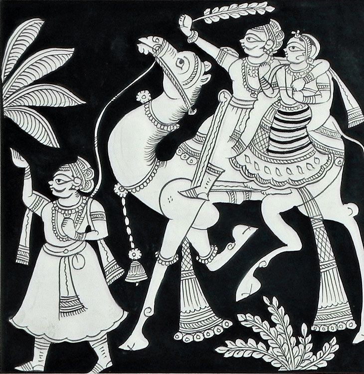 Rajasthani+Couple+on+Riding+on+a+Camel+(Phad+Painting+on+Cloth+-+Unframed))+