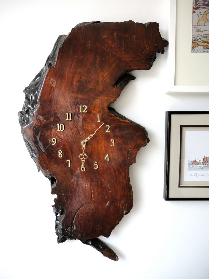 wood clock - I think this is what I will do with the piece of burl I have....