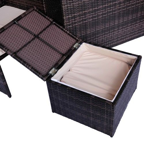 Gut Outsunny Deluxe 9Pcs Rattan Wicker Dining Sofa Table Set Outdoor Patio  Furniture With Aluminum Frame, Cushion And Storage Space