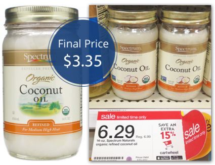 Score a nice deal on coconut oil at Target! Spectrum Organic Coconut Oil is on sale this week. Stack a printable manufacturer coupon with a Cartwheel offer to grab a jar for only $3.35!