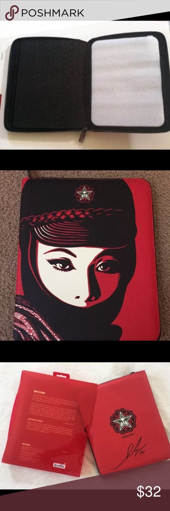 """Ipad Case, fits large ipad. Trendy portfolio case with zipper enclosure. 10% off bundles. Snap on case made by Incase and designed by Shepard Fairey. Ipad Case, fits large ipad. width of snap on Is about  7.25"""" Wide. Obey Other"""