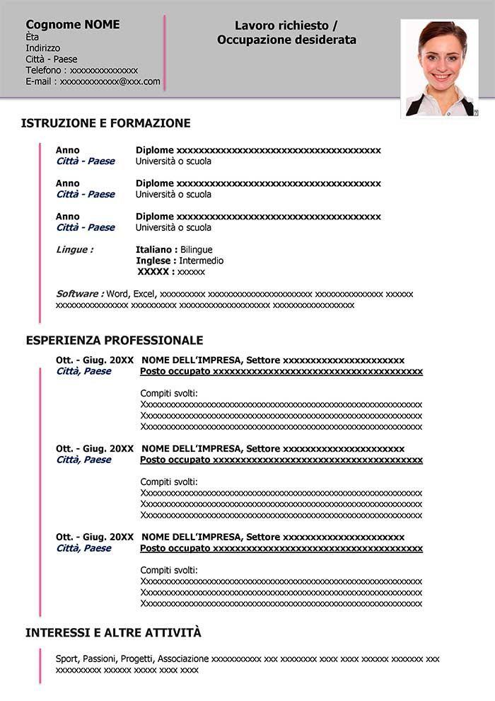Esempio Di Curriculum Vitae Da Scaricare Curriculum Vitae