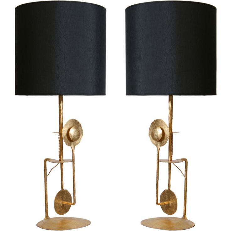 A Handsome Pair Of Mid Century Modern Italian Gilt Wrought Iron Modernist  Table Lamps