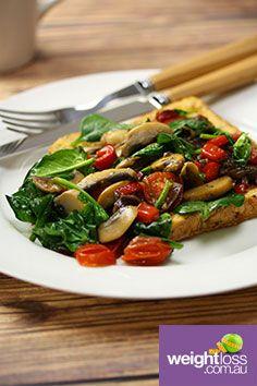 Savoury Vegetarian French Toast. #HealthyRecipes #DietRecipes #WeightLossRecipes weightloss.com.au