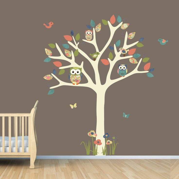 Nursery wall decal owl tree decal owl art owl tree wall sticker owl wall - Stickers pour les murs ...