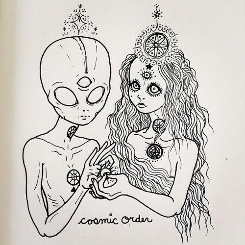 cosmic order, aliens, tumblr, drawing, third eye, chakras, beleive