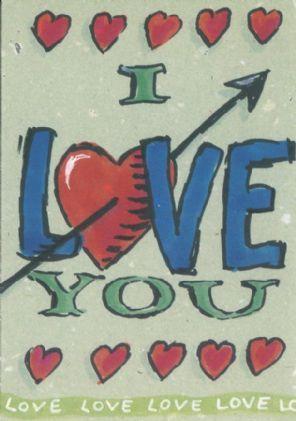 Texto Postcard, I Love You, Illustration by Anna Petrov