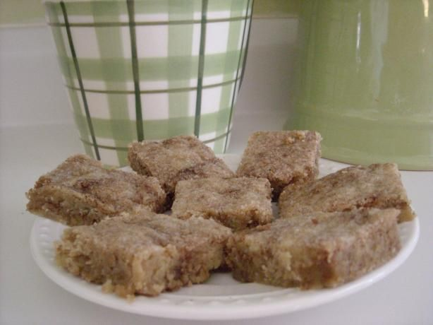 Danish Cinnamon Bars from Food.com:   I love making bars because they don't require all the work of shaping of cookies. Just press the dough in a pan, bake, and cut into bars. A delicious holiday treat and can be made ahead and frozen.