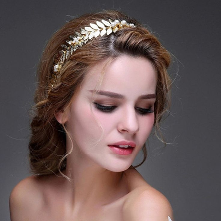 Gold And Faux Pearl Bridal Hairband //Price: $42.62 & FREE Shipping //     #weddingjewellery