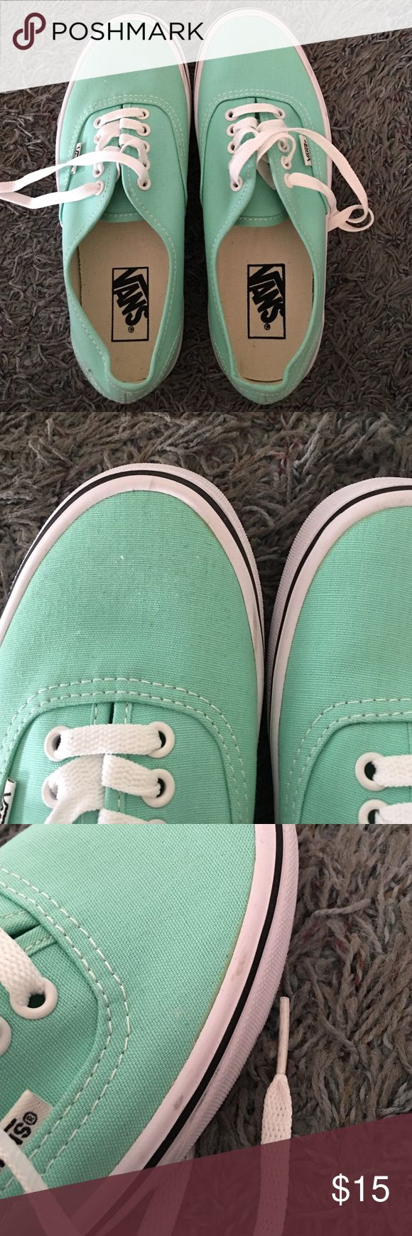 Mint green vans shoes Womens 8.5 mint green vans shoes still in good condition alittle dirt shown in pictures. Follow me on Instagram: tinkerbell114 :) Vans Shoes Sneakers