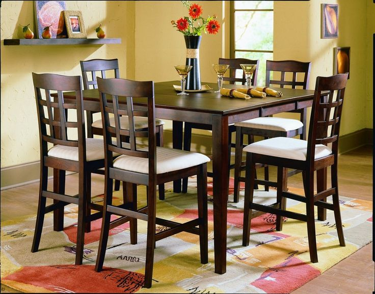 Design Pub Style Dining Sets - http://tabledesign.backtobosnia.com/design-pub-style-dining-sets/ : #DiningTables Pub style dining sets – Painted in vivid colors or wallpapers with a modern design on the walls of your dining place. Paint the details of wood and prints in black or white high-gloss paint finishes. Place the carpet with a pattern or style of kilim sumak can use antique or reproduction to...