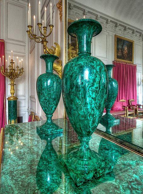 Ornemental vases of the Malachite Room of Trianon, 1808, Versailles Palace. #malachite #versailles #palace #trianon #napoleon #19thcentury #art