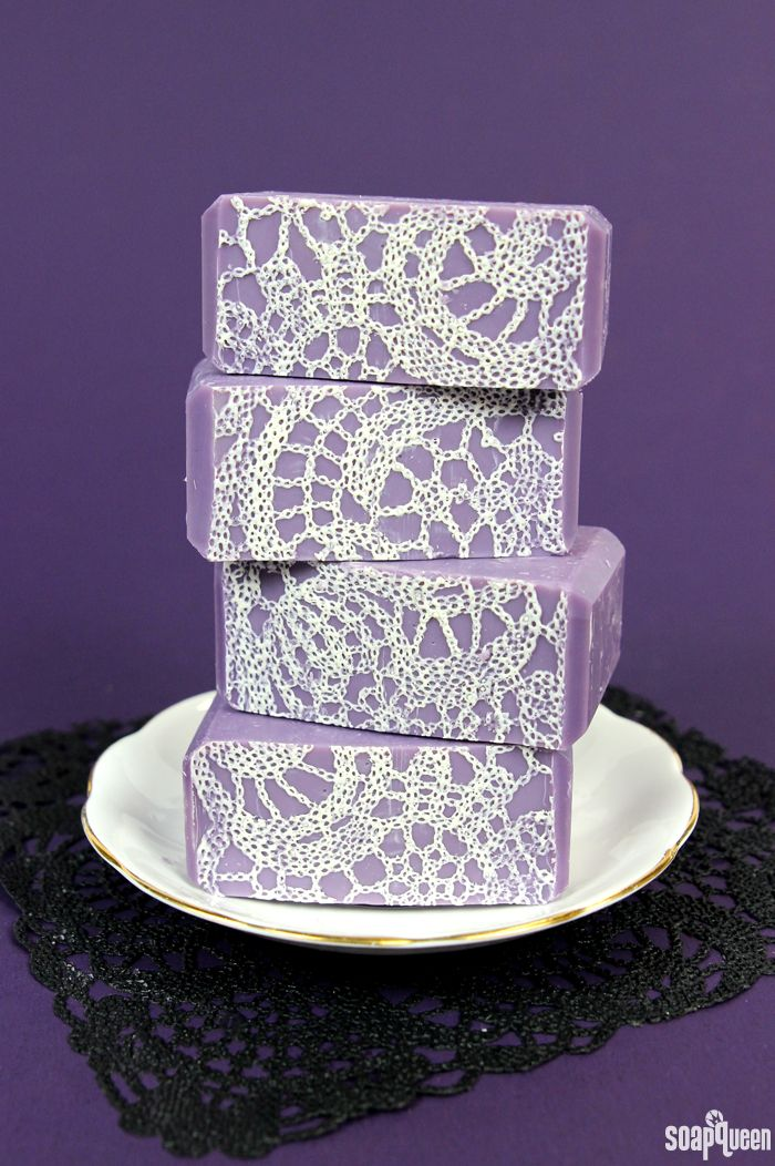 Jasmine Lace Cold Process Soap Tutorial: to achieve the lace pattern on the top, pourable silicone and lace are used to create a mat that sits on the bottom of the mold.